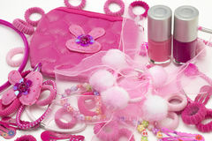 Pink fashion girly hair and nail accessories: clips, band and ribbons, pins and bow. Teenager hair clippers and grips. Little girl Stock Images