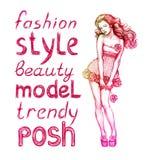Pink fashion illustration royalty free stock photos