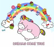 Pink fat unicorn flying in the sky with fast food. Fairy tale character on the background of the rainbow and clouds. Pink fat unicorn flying in the sky with fast Stock Image