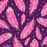 Pink feather pattern. With stars Stock Photography