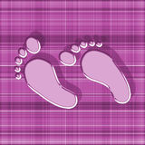 Pink feet with shadow on gingham background Royalty Free Stock Photos