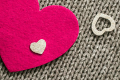 Pink  felt heart and  white decorative  hearts Royalty Free Stock Image