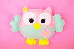 Pink felt owl - handmade kids toy Stock Photo