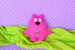 Pink felt Teddy bear - handmade children toy, sewing craft Royalty Free Stock Photography