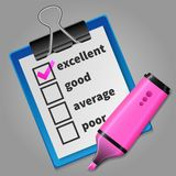 Pink felt tip pen and blue checklist Royalty Free Stock Photos