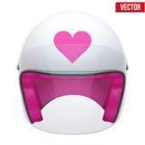 Pink Female Motorcycle Helmet with glass visor. Vector illustration on white background Stock Photo