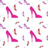 Pink Female Shoe Seamless Pattern. Vector Illustration Stock Photo