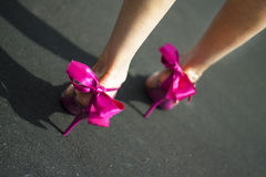 Pink female shoes Royalty Free Stock Images