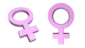 Pink Female Symbol on White. Pink female symbol isolated with slight shadow on white from angle and front Stock Photos