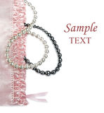 Pink feminine setting with pearls Stock Image