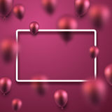 Pink festive background with balloons. Pink festive background with 3d balloons. Vector illustration Stock Photos