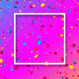 Pink festive background with colorful confetti. Pink festive background with white frame and glossy colorful oval confetti. Vector illustration.r Royalty Free Stock Images