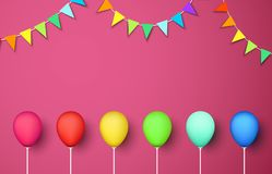 Pink festive background with colour balloons and flags. Pink festive background with colour realistic balloons and garlands of flags. Vector illustration.rr Royalty Free Stock Image