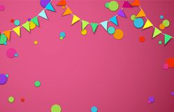 Pink festive background with colour flags and confetti. Pink festive background with garlands of colour flags and paper confetti. Vector illustration.rr Royalty Free Stock Image