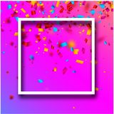 Pink festive background with colorful confetti. Pink festive background with white frame and colorful paper confetti. Vector illustration.r Stock Photos
