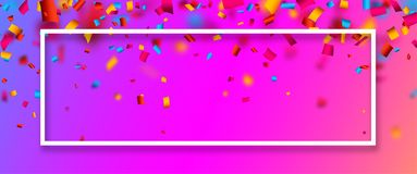 Pink festive banner with colorful confetti. Pink festive banner with white frame and colorful paper confetti. Vector illustration.rr Stock Image
