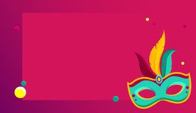 Pink carnival background with colour mask. Pink festive carnival background with bright colour mask. Vector illustration Royalty Free Stock Image
