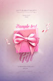 Pink Festive flyer or poster. Top view on gift box and bow with beautiful backdrop Stock Photo