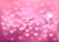Pink festive lights in heart shape, vector. Vector background defocused festive lights, no size limit Royalty Free Stock Photos