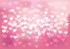 Pink festive lights in heart shape, vector Royalty Free Stock Photography