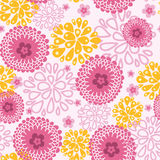 Pink field flowers seamless pattern background. Vector pink field flowers elegant seamless pattern background with hand drawn line art floral elements Royalty Free Stock Photos