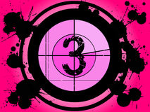 Pink Film Countdown - At 3. Old Fashioned Film Countdown at Number 3 Royalty Free Stock Image