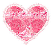 Pink fine lace heart with floral pattern. Stock Image
