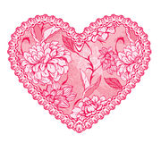 Pink fine lace heart with floral pattern. Stock Photo