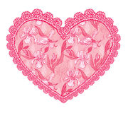 Pink fine lace heart with floral pattern. Stock Images