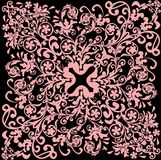 Pink fine square background. Illustration with pink decoration on black background Royalty Free Stock Photography