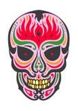 Pink fire skull. Sugar skull day of the dead illustrations design Stock Image