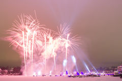 Pink Fireworks on Frozen River Royalty Free Stock Images