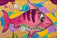 Pink Fish Grafito on Public Wall, Street Art Graffiti Royalty Free Stock Photos