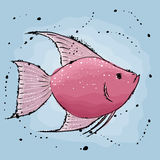 Pink fish. Hand drawn  illustration in watercolor style Stock Image