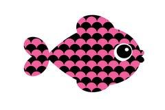 Pink fish logo on white background. Illustration design