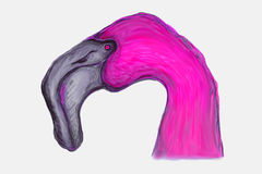 Pink flamingo. The head of a pink flamingo stock illustration