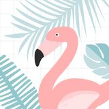 Pink flamingo bird in jungle leaves. Nature illustration print for cards and posters. Pink flamingo bird in jungle leaves. Nature illustration print for cards Royalty Free Stock Image