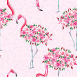 Pink flamingo body of roses seamless pattern. Beach image of a wallpaper with a beautiful tropic pink flamingo body of roses flowers. Seamless vector composition Vector Illustration