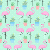 Pink flamingo with cactus. In cute pots seamless pattern on polka dots background stock illustration