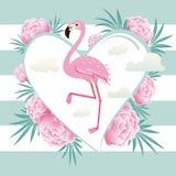 Vector illustration pink flamingo couple. Cool flamingo decorati Stock Photos