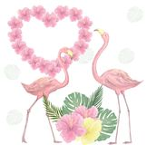 Pink flamingo digital clip art cute bird Love flowers bounqet tropical set flowers color texture illustration flying animal dove f vector illustration