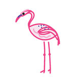 Pink flamingo doodle sketch style isolated on white. Royalty Free Stock Photos