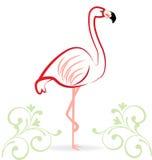 Pink flamingo floral logo. Pink flamingo floral icon logo vector design Stock Photo
