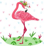 Pink flamingo with flowers - vector illustration, eps stock illustration