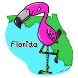 Pink flamingo over Florida map Royalty Free Stock Photo