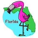 Flamingo over Florida map cartoon Royalty Free Stock Photo