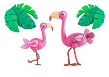 Pink flamingo with palm leaves made of plasticine isolated on white background. Crafts from platinum. Children crafts royalty free stock photography