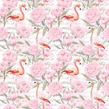 Pink flamingo, peony flowers, hand written text. Seamless pattern. Watercolor Stock Photo