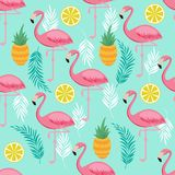 Pink flamingo, pineapples and exotic leaves vector seamless pattern. Exotic summer pattern with bird flamingo illustration Stock Photo