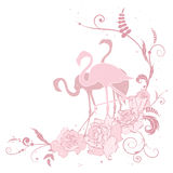 Pink flamingo and roses Royalty Free Stock Photography